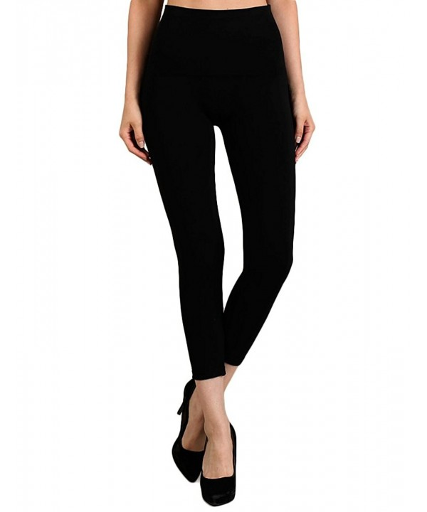 Tummy Waist Cropped Leggings Black