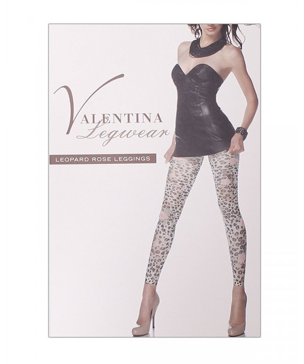 FineBrandShop Ladies Leopard Rose Leggings