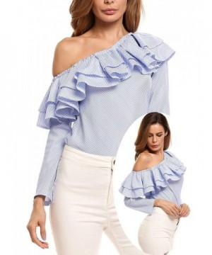 Zeagoo Womens Shoulder Sleeve Striped
