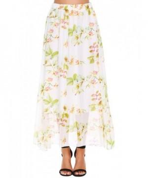 Pleated Floral Chiffon Womens Elastic