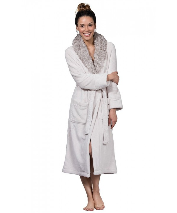 PajamaGram Ultra Soft Plush Women Ivory