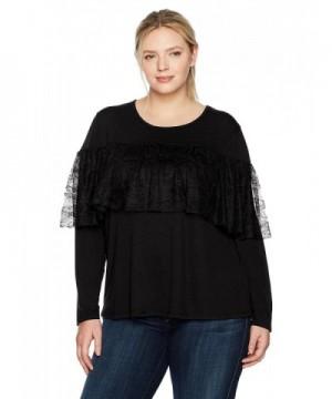 WallFlower Womens Ruffle Sleeve Black