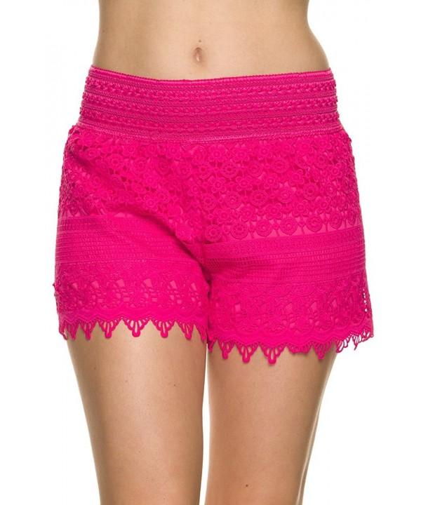 Bellarize Womens Crochet Shorts Fuchsia