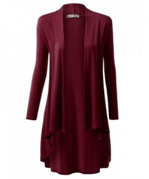 URBANCLEO Womens Basic Cardigan BURGUNDY