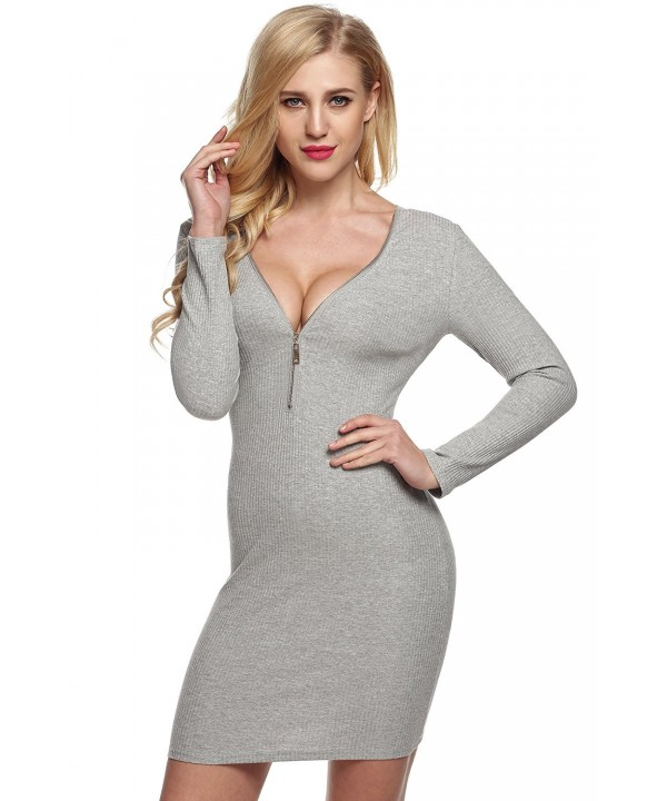 Zeagoo Women Zipper Bodycon Sweater