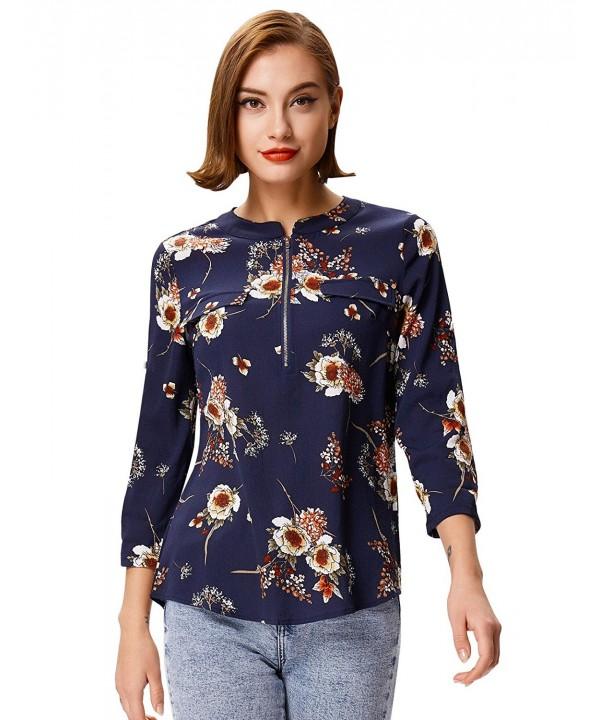 Women Business Casual Floral Zipper