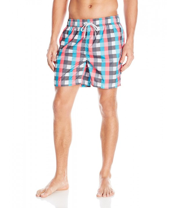 031dc558bc5 Men's Byron Plaid Swim Trunks - Aqua/Pink - C2126WMOM5Z