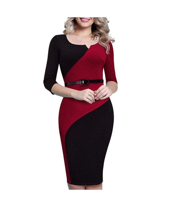 Samtree Sleeves Patchwork Bodycon Cocktail