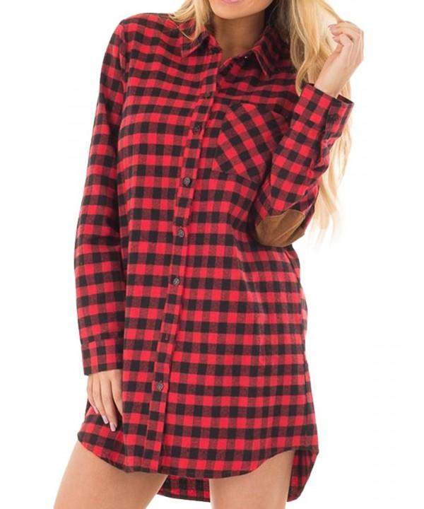 875866cb897 Women s Plaid Elbow Patch Long Sleeve Botton Down Shirt Dress Blouse ...