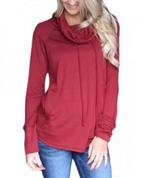 BLENCOT Drawstring Sweatshirts Pockets Blouses