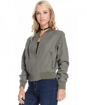Ambiance Womens Simple Classic Bomber