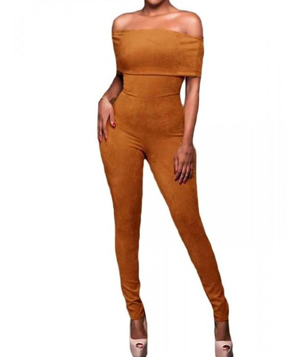 Shawhuwa Womens Shoulder Bodycon Jumpsuit
