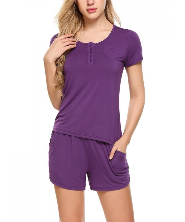 6a810a2d983e Women s Sleepwear Short Sleeves Button Pajama Sets With Pockets ...