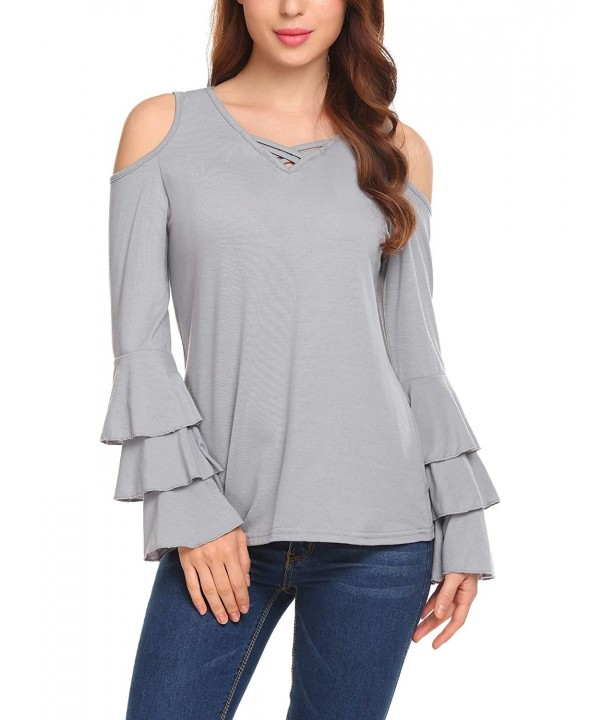 EASTHER Womens Casual V Neck Shoulder