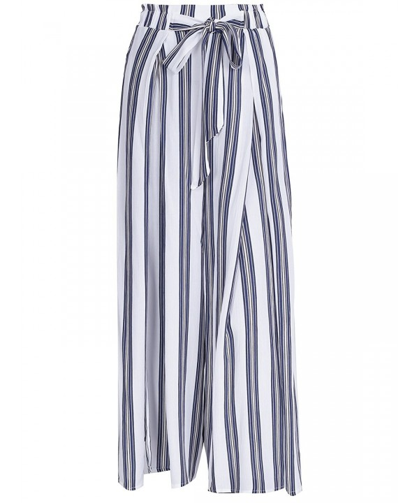 Simplee Elegant Striped Waisted Belted