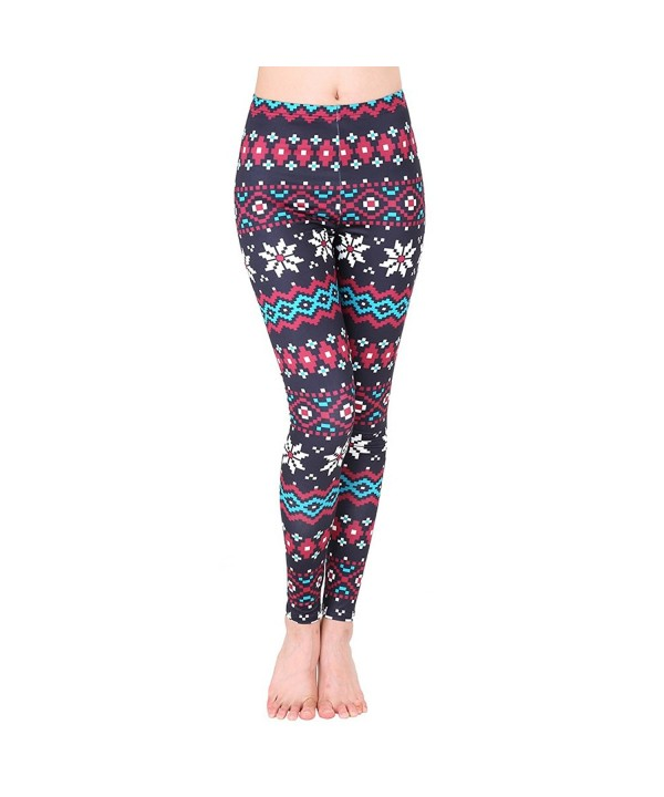 ERXH Printed leggings Stretchy Snowflake56