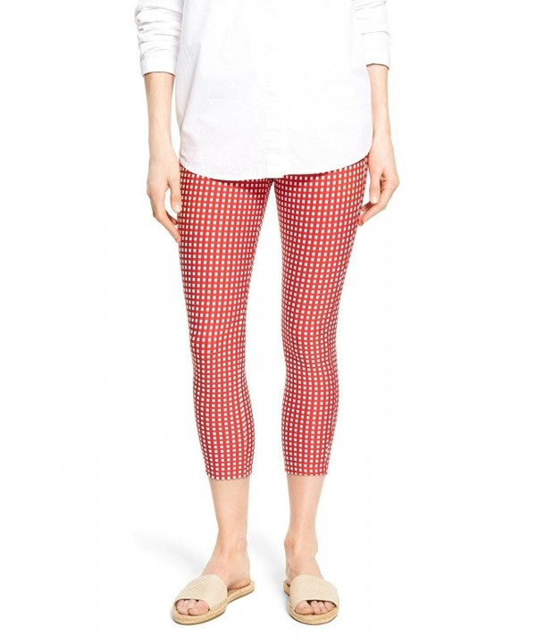 HUE Womens Checkered Capris Tango