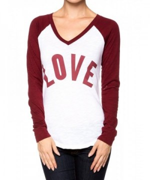 Baseball Contrast Sleeve V neck Burgundy