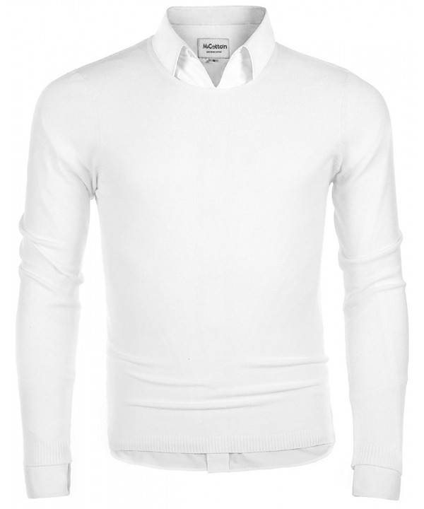 05fe363268ae Men's Long Sleeve Crew Neck Pullover Knit Sweater - White - CD184YKX8CQ