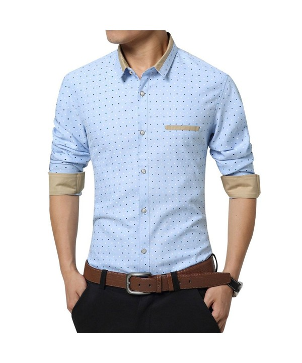 2267678684 Mens Business Slim Fit Long Sleeve Polka Dot Dress Shirt - Light ...