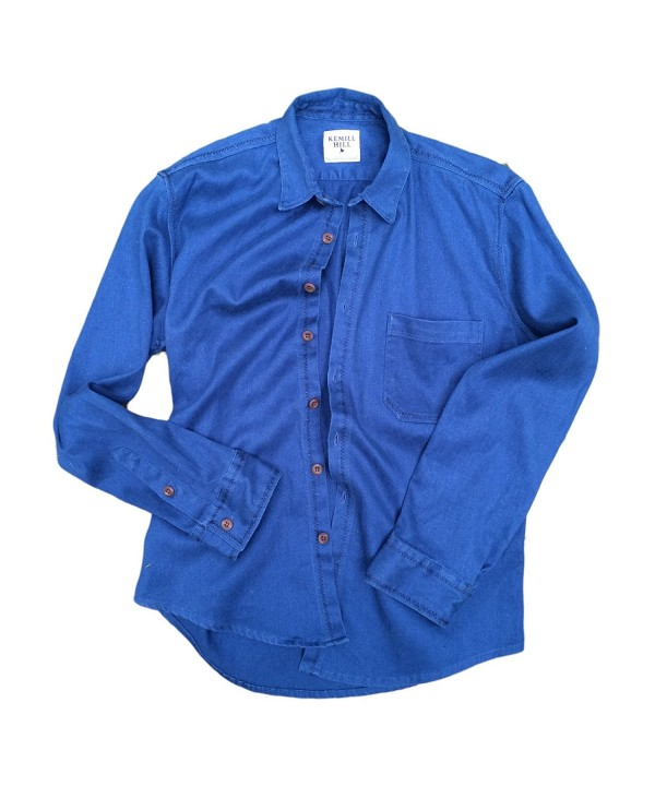 Sleeve Collared Button Blend Shirt