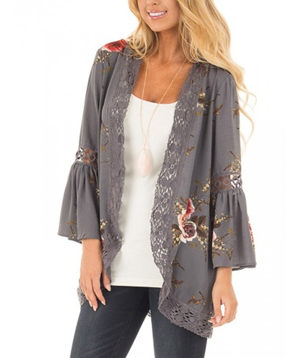 Halife Womens Floral Cardigan Patchwork