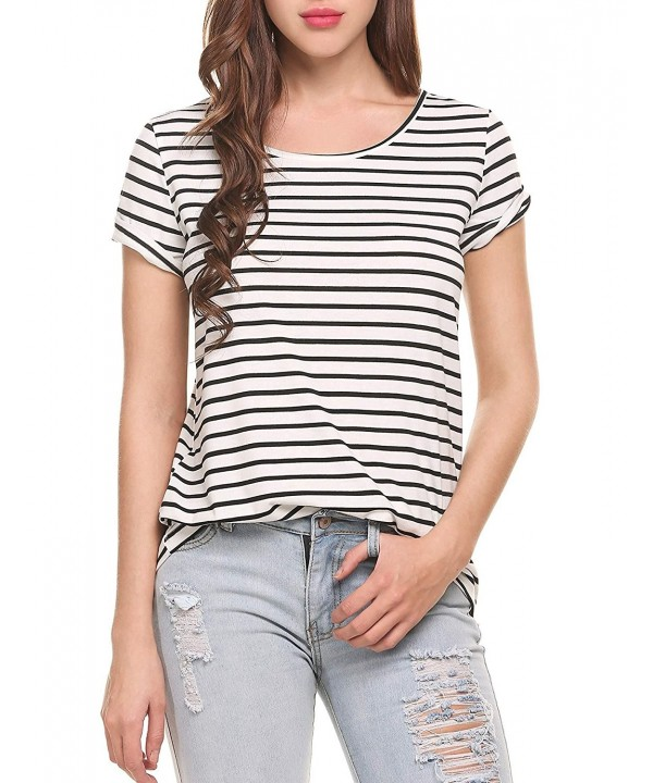 Zeagoo Womens Round Striped Sleeve