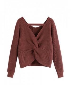 SweatyRocks Womens Twist Pullover Sweater