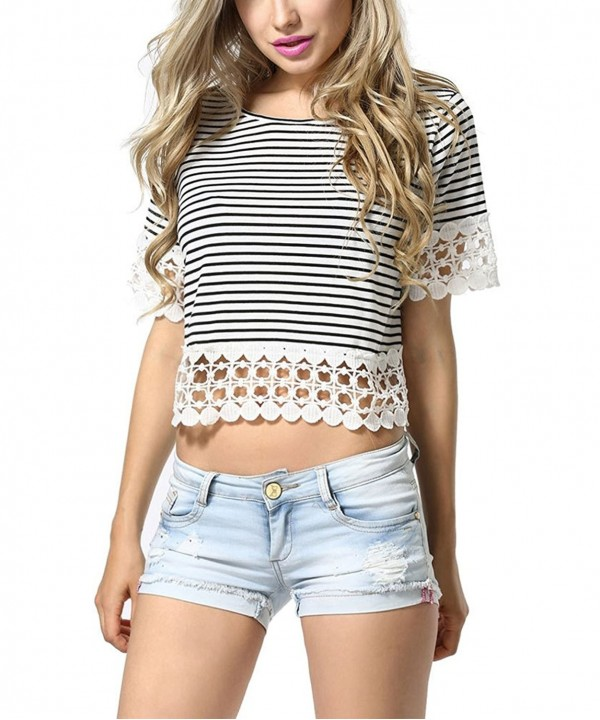 MiiFree Stripes Hollow Sleeves T Shirt