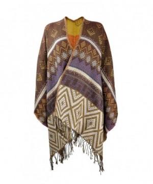 ZLYC Geometric Blanket Poncho Fringe