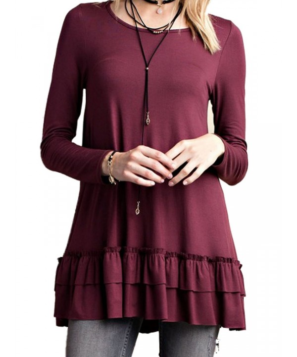 Easel Womens Ruffle Tunic Sleeve