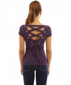 PattyBoutik Womens Scoop Blouse Purple