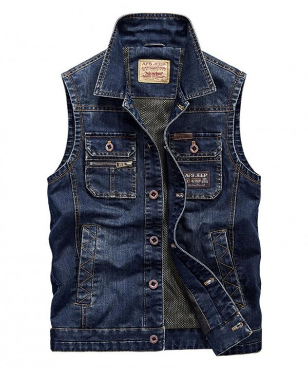 Amoystyle Denim Chest Pockets Asian