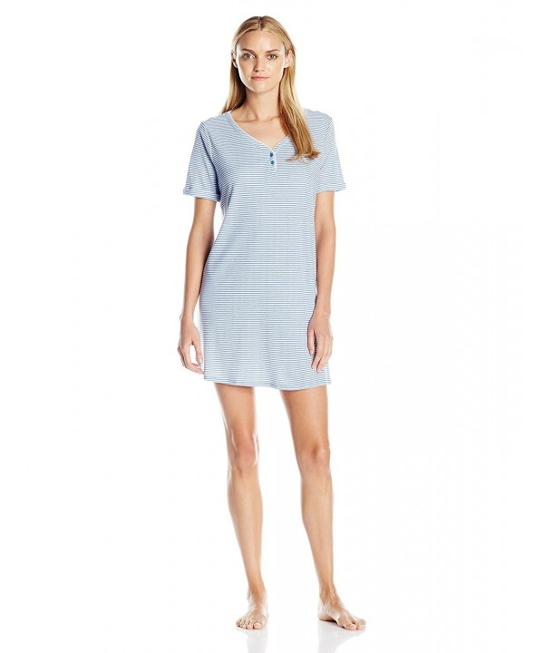 Karen Neuburger Nightshirt Chambray Stripes
