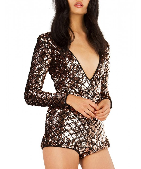 Haoduoyi Sequins Sleeves Jumpsuits Clubwear