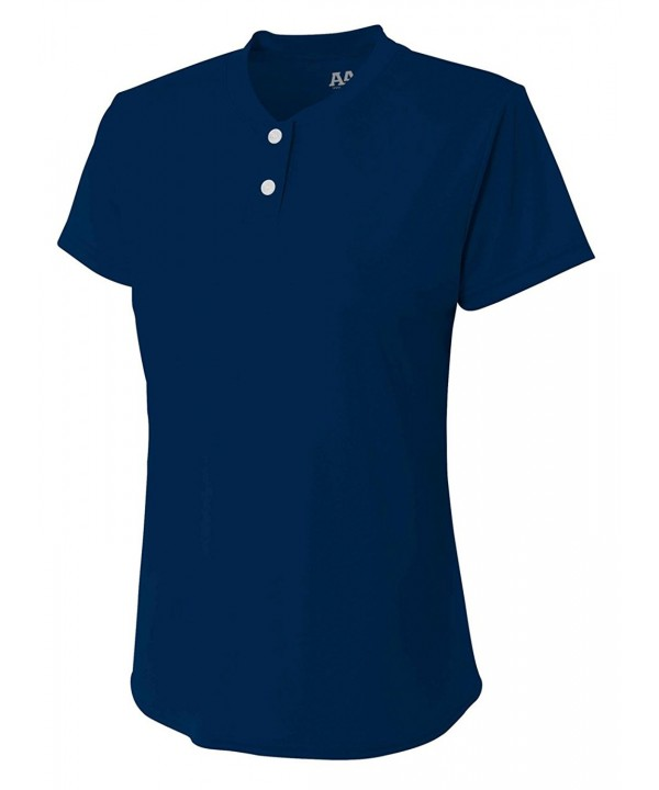 A4 2 Button Henley Medium Navy