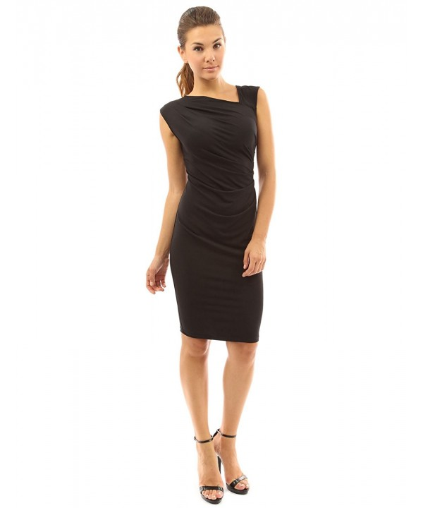 PattyBoutik Womens Asymmetrical Pleated Sheath