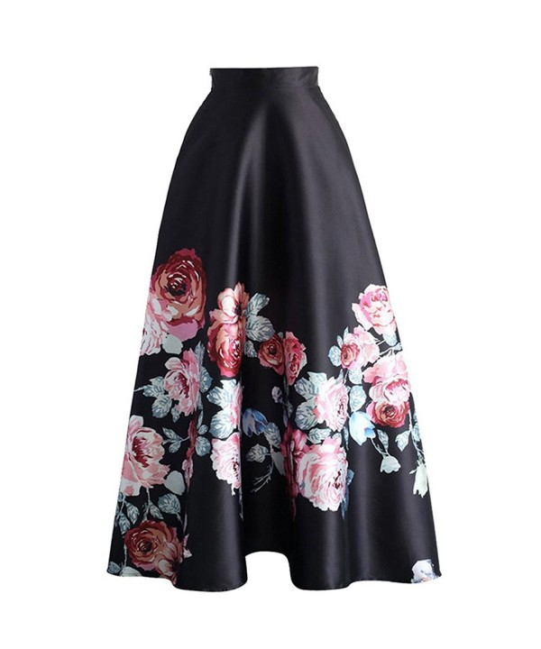 11eb0007ef9 Women s Floral Print Colorblock High Waisted A-Line Long Maxi Skirt ...