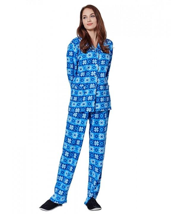 Like2Sea Fleece Pajamas Women Button Down