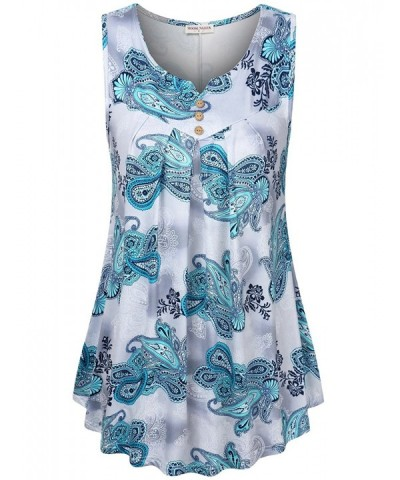 Women's Paisley Printed Pleated Front Sleeveless Summer Tunic Tank - Blue Flower - CK180M6IXY3
