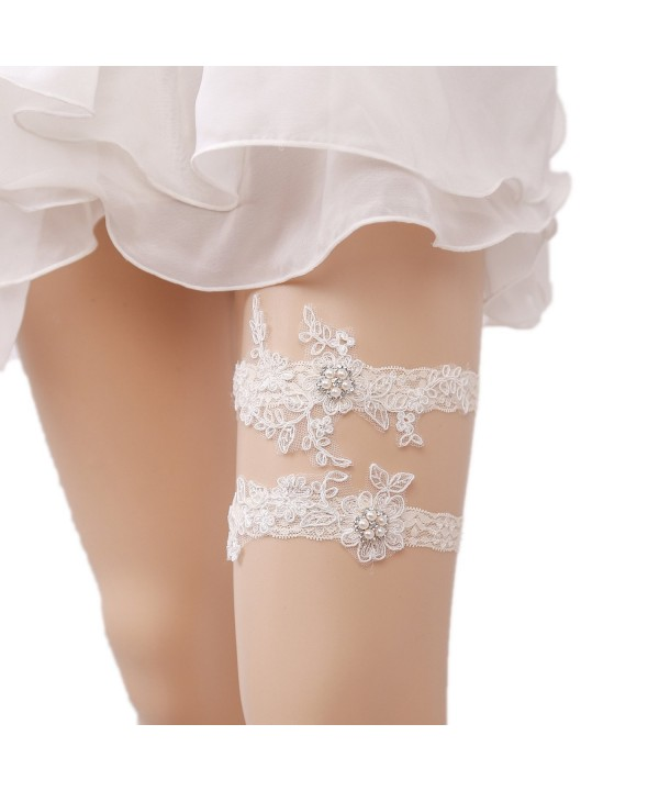 WoodBury Wedding Garter Floral Pearls