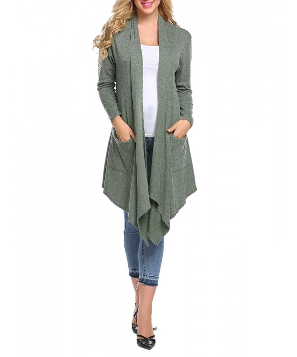 Womens Sleeve Irregular Cardigan Pockets