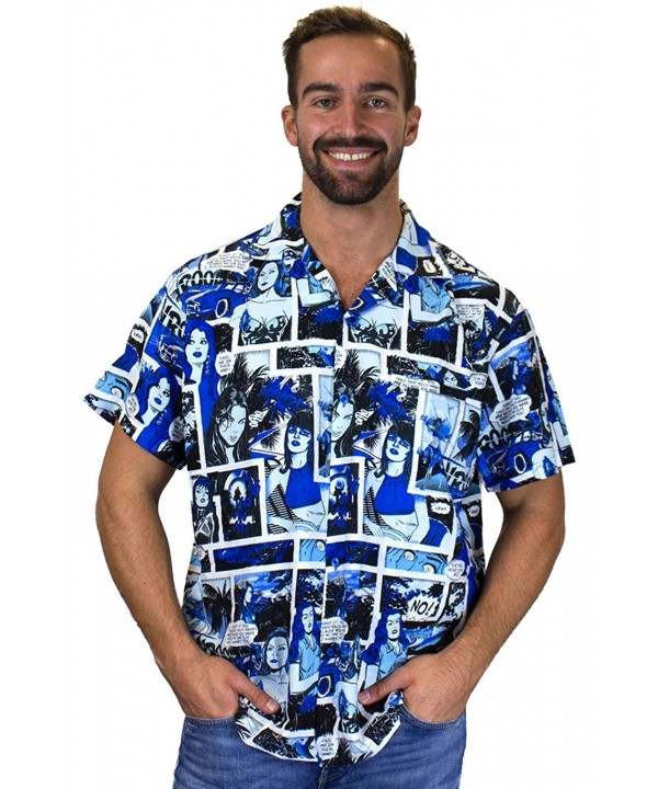 Funky Hawaiian Shirt Comic monoblue