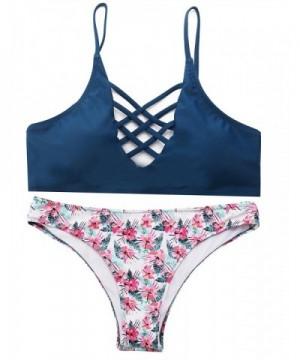 Bikini Swimsuit Crisscross Floral Bottom