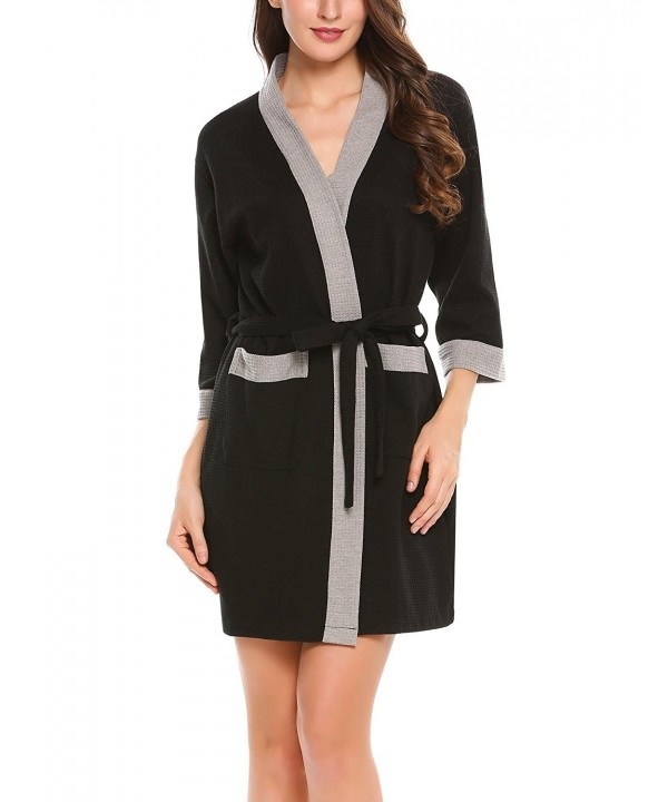 Robes For Women Waffle-Weave Bathrobe 3 4 Sleeve Kimono Soft Lounge ... 28497a2b8