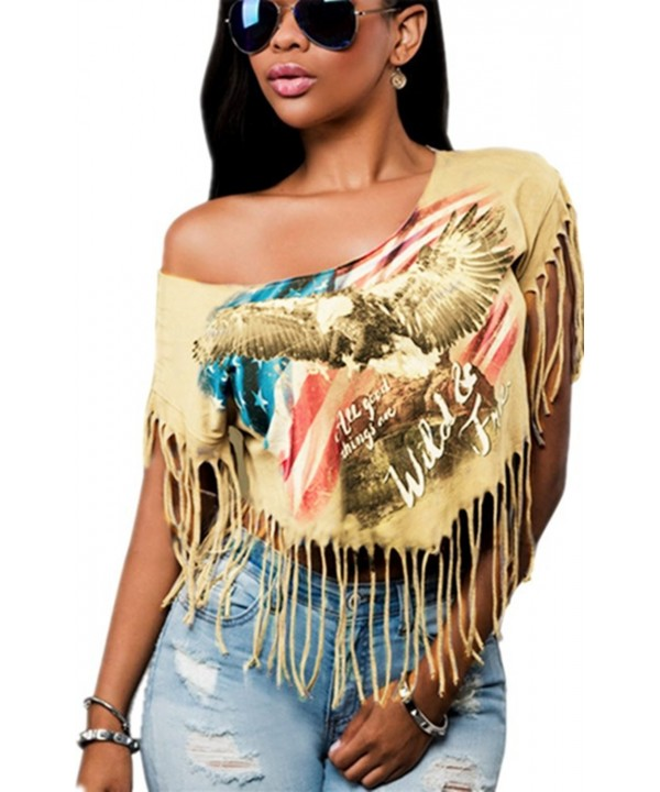 Shoulder Tassel Ladies Sleeveless T Shirt