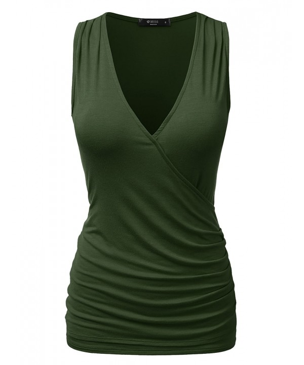 DRESSIS Wrap Front Ruched OLIVE
