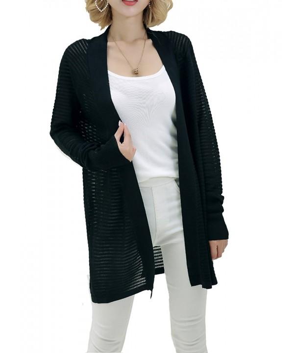 Vensmile Womens Sleeve Translucent Cardigans