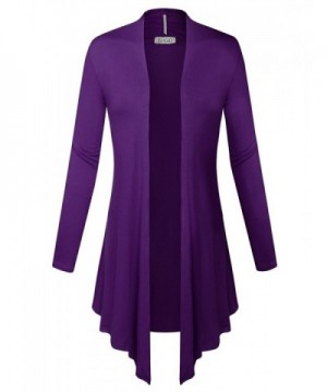 BIADANI Womens Sleeve Cardigan Purple