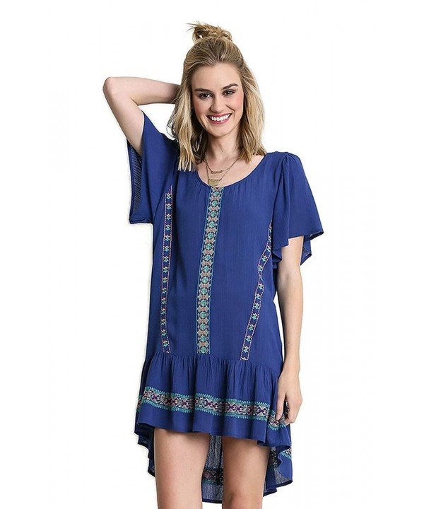 Umgee Bohemian Embroidered Ruffle Babydoll